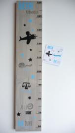 Groeimeter  van geboortekaartje kraamcadeau Seth