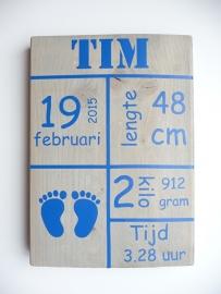 Geboortebord met geboortegegevens tekstblokken voetjes jongen