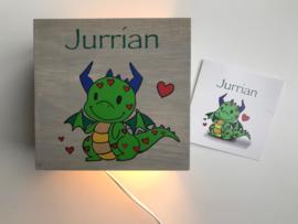 Lamp van het geboortekaartje persoonlijk cadeau Jurrian