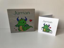 Geboortekaartje op hout uniek cadeau Jurrian