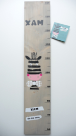 Groeimeter  van geboortekaartje kraamcadeau Xam
