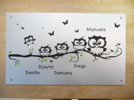 Naambord gezin voordeur eigen ontwerp uilen