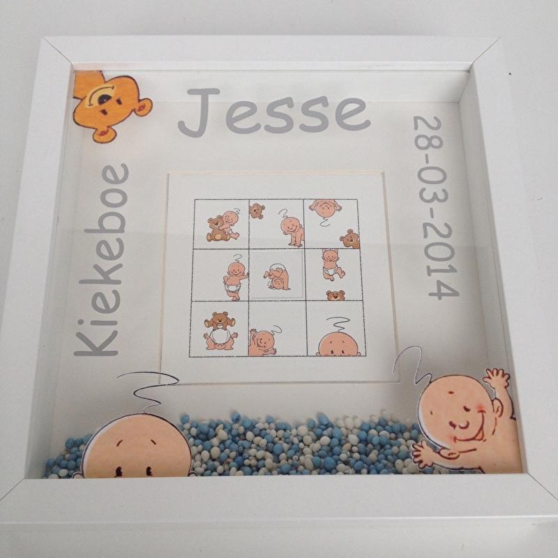 Kraamkado met naam geboorte 3D lijst op basis van het geboortekaartje Jesse