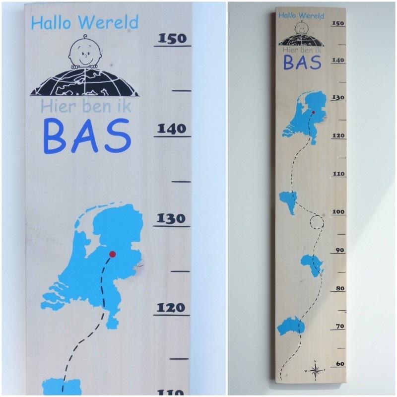 Groeimeter met naam hallo wereld