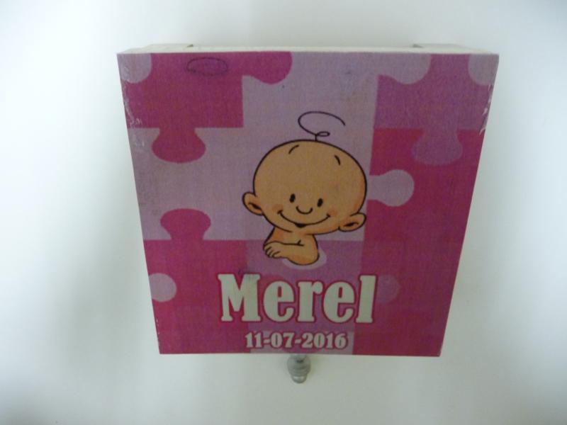 Muziekdoosje van geboortekaartje Merel