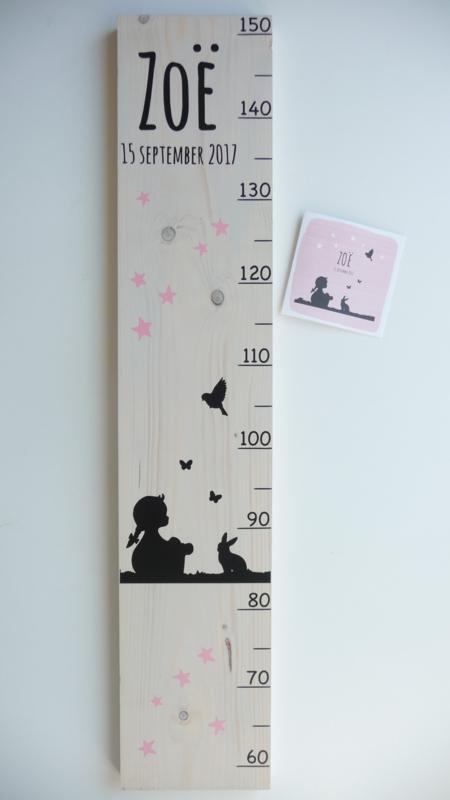 Groeimeter  persoonlijk kraamcadeau van geboortekaartje Zoe