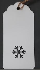 """Wit label """"Boogjes met sneeuwvlok (9,5x4,5 cm/10 stuks)"""