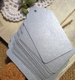 zilver Label met boogjes (4,0x 7,0cm/10 stuks)