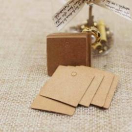 Kraft label vierkant klein (2,5cm/25 stuks)