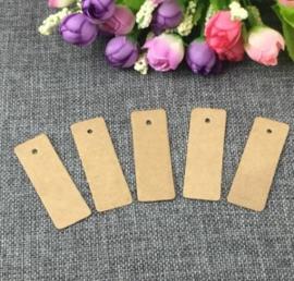 Kraft label rechthoekig (17,5 x 7,0 cm/25 stuks)