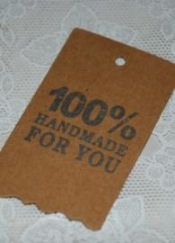 "Kraft label met opdruk ""100% Handmade for You"" (10 stuks)"