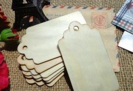houten Label met boogjes (4,0x 7,0cm/10 stuks)