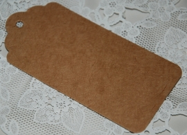 Kraft label boogjes L  (9,5 x 4,5 cm/25 stuks)