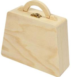 Houten koffertje met gravering