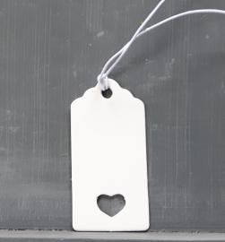 Geschenkanhänger weiß mit Bögen und Herzausschnitt mini(25st)
