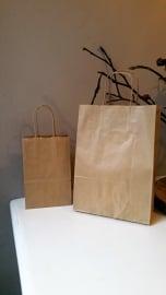Kraft tas klein met koord (14x21x8cm/10 stuks)