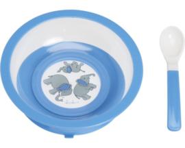 Diep bord blauw met zuignap en lepel