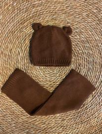 Knit baby- en kindermuts + sjaal bruin
