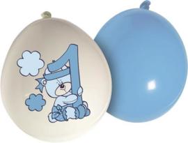 Ballonnen ''1 jaar'' Lichtblauw 25cm 20st