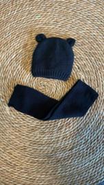 Knit baby- en kindermuts + sjaal zwart