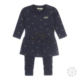 Dirkje meisjes 2-delige babyset  jurkje navy  Bio Katoen