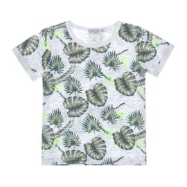 Dirkje jongens T-shirt wit groen Tropical Leaves