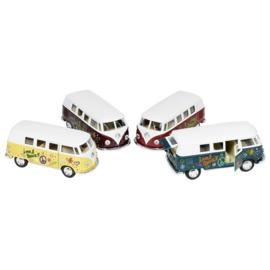 Set van 12 grote metalen hippe Volkswagen-busjes