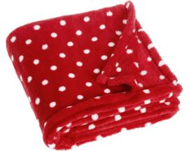 Fleece deken rood met witte stippen 75 x 100 cm