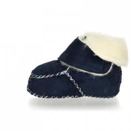 Babyslofje klittenband met schapenwol donkerblauw / marine