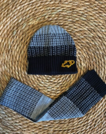 Baby- en kindermuts + sjaal multi black