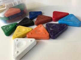 Primo driehoekige waskrijtjes, emmer 30 stuks