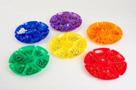 Bloemen reuze sorteerschalen gekleurd, set van 6 stuks
