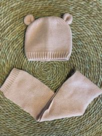 Knit baby- en kindermuts + sjaal light pink