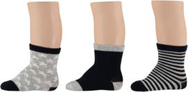 Sokken grijs/blauw unisex, set van 3 paar