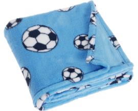 Fleece deken voetbal blauw 75 x 100 cm