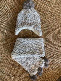 Sarlini muts + sjaal grijs  Extra zacht