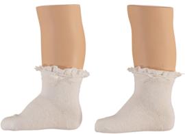 Sokken wit met kanten boord, set van 3 paar