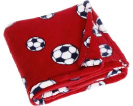 Fleece deken voetbal rood 75 x 100 cm