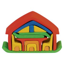 Houten meubelhuis gekleurd