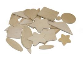 Woodies houten schijven naturel, set van 350 stuks assortiment