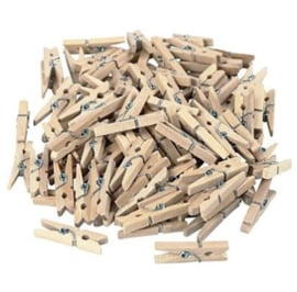 Mini houten wasknijpers, set van 100 stuks