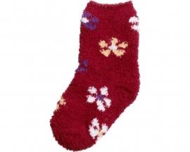 Fleece sokjes Antislip rood bloemen Anti-slip  maat 19/22