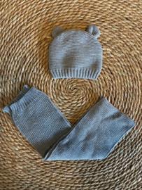 Knit baby- en kindermuts + sjaal grijs