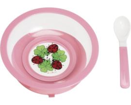 Diep bord roze met zuignap en lepel