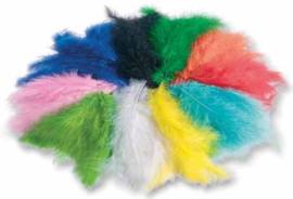 Gekleurde fleece veren, 100 gram assortiment