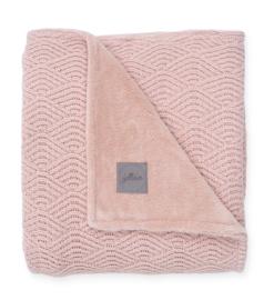 Jollein Ledikant Deken River Knit 100x150cm - Pale Pink/Coral Fleece
