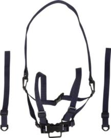 Tuigje XL, nylon zwart met looplijn