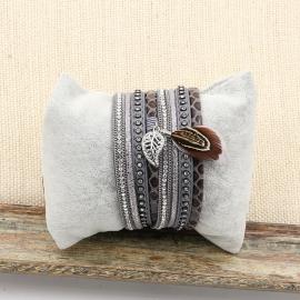 wikkelarmband Feather   grijs