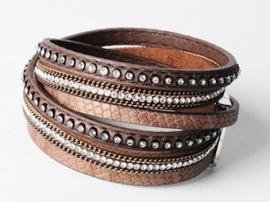 wikkelarmband leder | bruin
