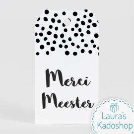 Kadolabel wit - Merci Meester